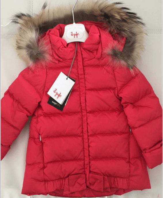 Girls Red Fur Trims Hooded Down Jacket - CÉMAROSE | Children's Fashion Store