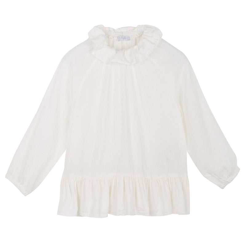 Baby Girls Ivory Silk&Cotton Blouse With Peplum Frill - CÉMAROSE | Children's Fashion Store - 1