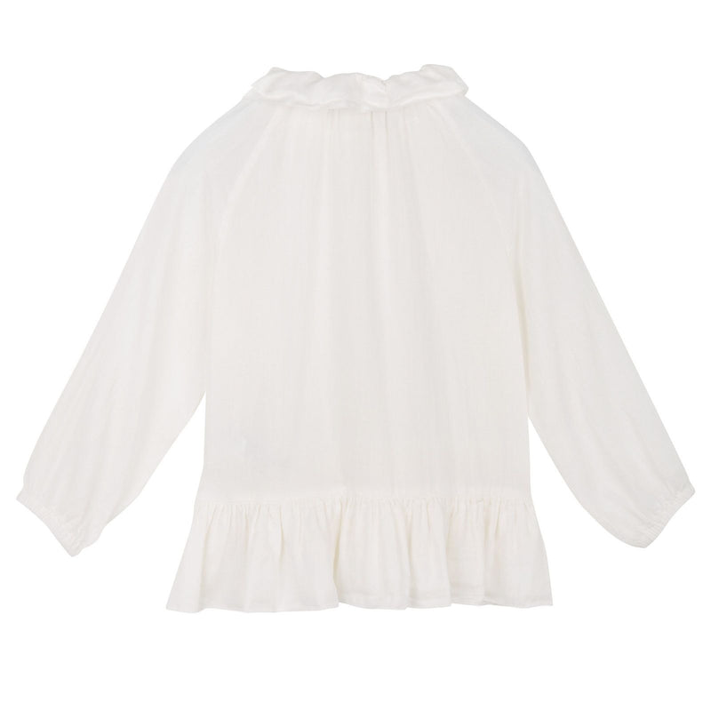 Baby Girls Ivory Silk&Cotton Blouse With Peplum Frill - CÉMAROSE | Children's Fashion Store - 2
