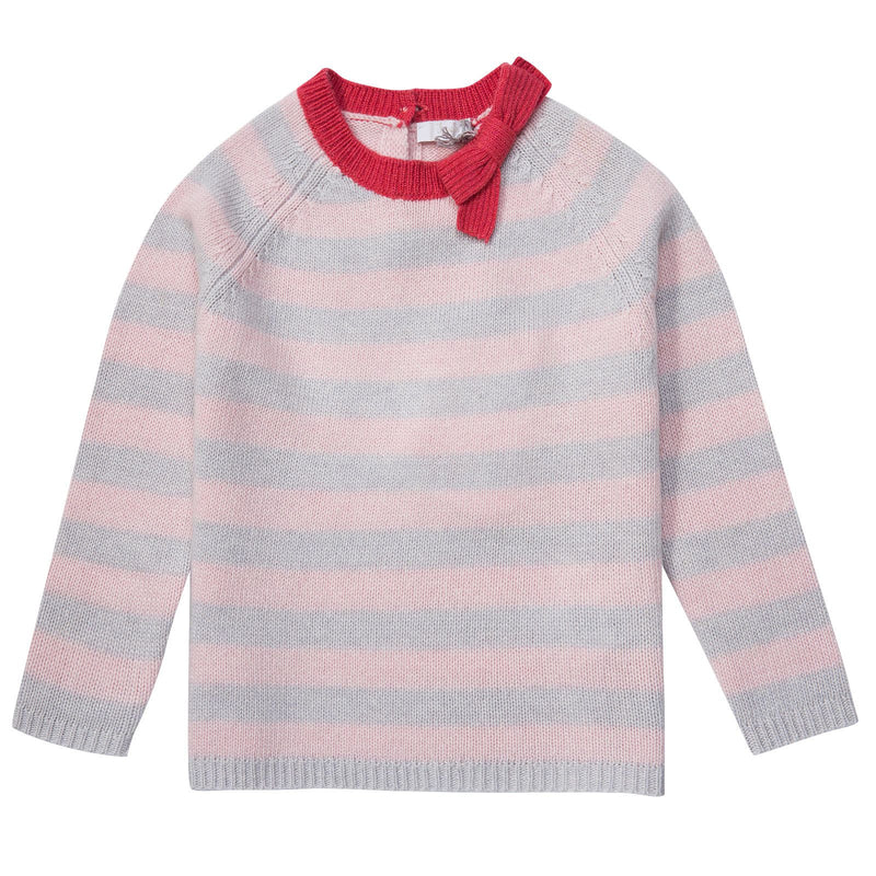 Baby Girls Grey&Pink Stripe Sweater With Red Bow - CÉMAROSE | Children's Fashion Store - 1