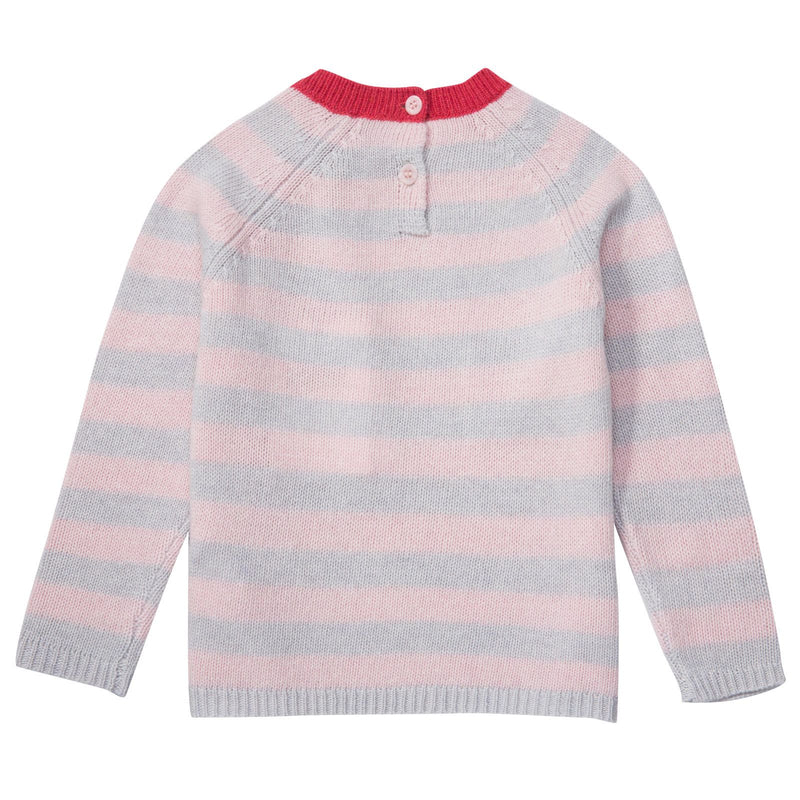 Baby Girls Grey&Pink Stripe Sweater With Red Bow - CÉMAROSE | Children's Fashion Store - 2