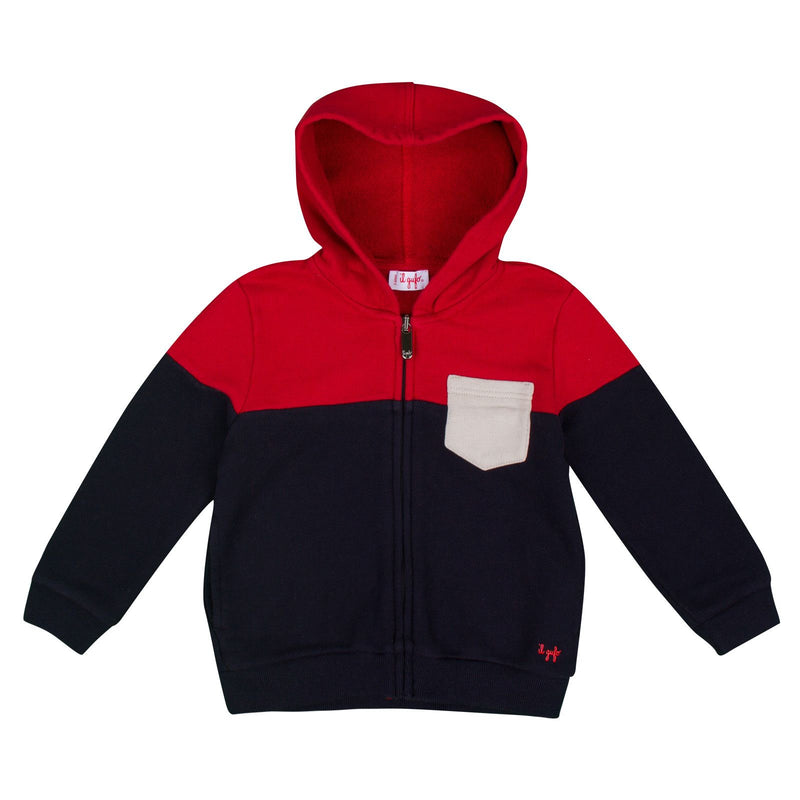 Boys Navy Blue&Red Ribbed Knited Trims Hooded Jacket - CÉMAROSE | Children's Fashion Store - 1