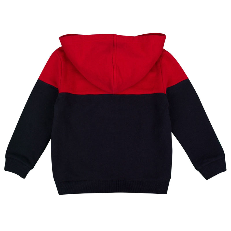 Boys Navy Blue&Red Ribbed Knited Trims Hooded Jacket - CÉMAROSE | Children's Fashion Store - 2