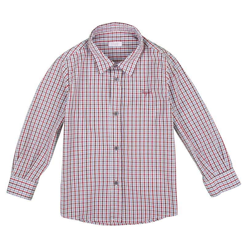 Baby Boys Red Check Cotton Long Sleeve Shirt - CÉMAROSE | Children's Fashion Store - 1