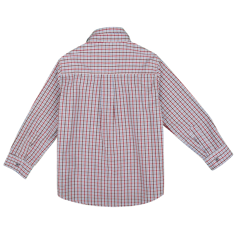 Baby Boys Red Check Cotton Long Sleeve Shirt - CÉMAROSE | Children's Fashion Store - 2