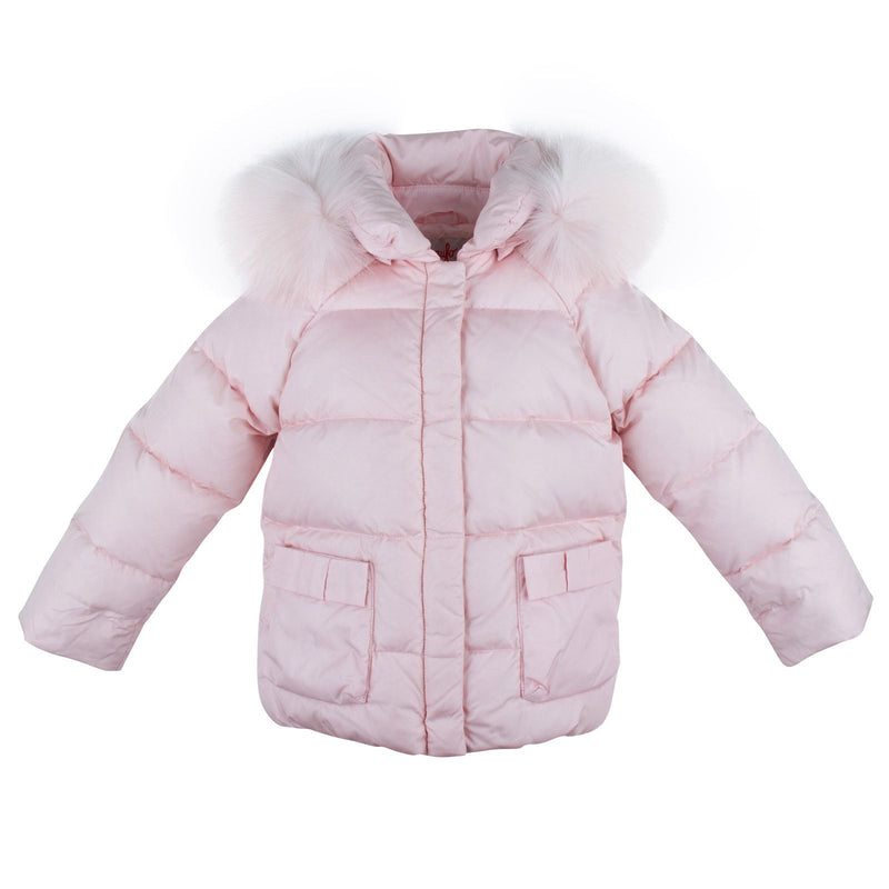 Baby Girls Pink Fur Trims Down Padded Hooded Jacket - CÉMAROSE | Children's Fashion Store - 1