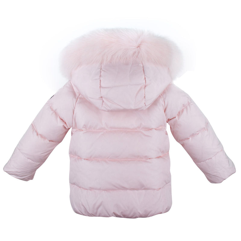 Baby Girls Pink Fur Trims Down Padded Hooded Jacket - CÉMAROSE | Children's Fashion Store - 2