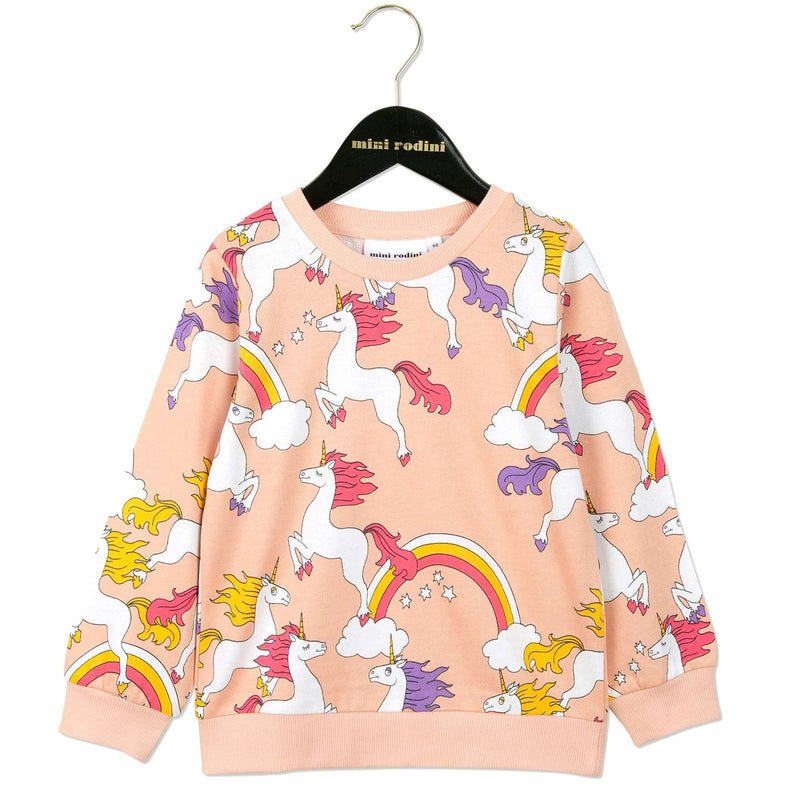 Girls Pink Unicorns Printed Cotton Sweatshirt - CÉMAROSE | Children's Fashion Store - 1