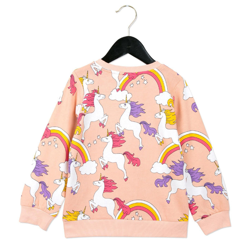 Girls Pink Unicorns Printed Cotton Sweatshirt - CÉMAROSE | Children's Fashion Store - 2