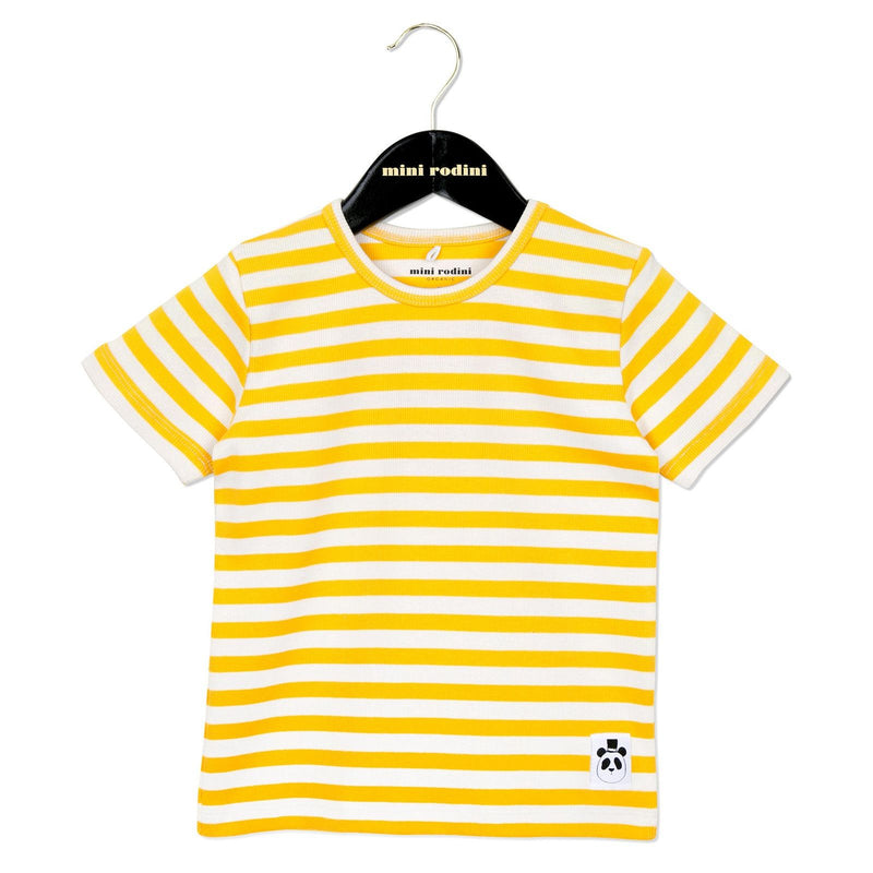 Girls White&Yellow Stripe Cotton T-Shirt - CÉMAROSE | Children's Fashion Store - 1