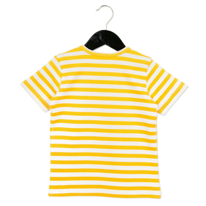 Girls White&Yellow Stripe Cotton T-Shirt - CÉMAROSE | Children's Fashion Store - 2