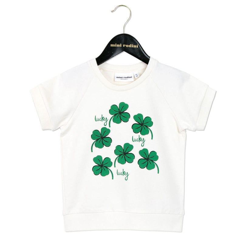 Girls White Cotton T-Shirt With Clover Print - CÉMAROSE | Children's Fashion Store - 1