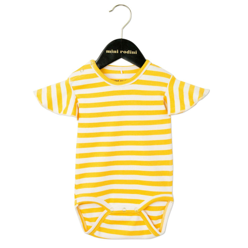 Baby White&Yellow Striped Cotton Bodysuit With Frill Sleeve - CÉMAROSE | Children's Fashion Store - 1