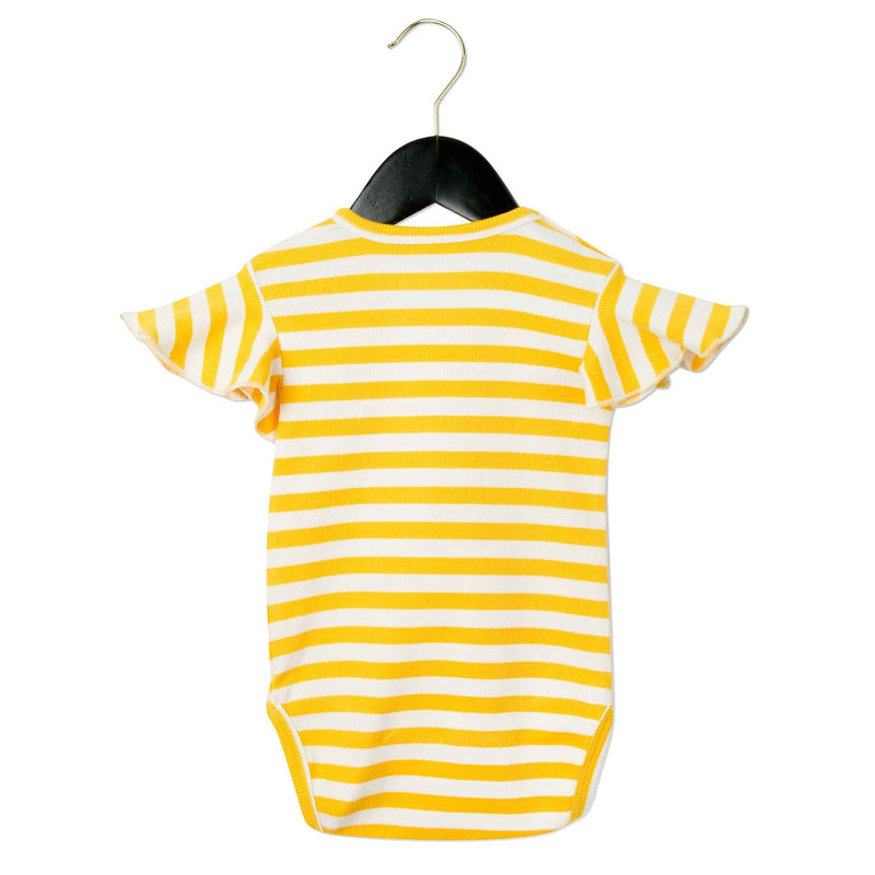 Baby White&Yellow Striped Cotton Bodysuit With Frill Sleeve - CÉMAROSE | Children's Fashion Store - 2