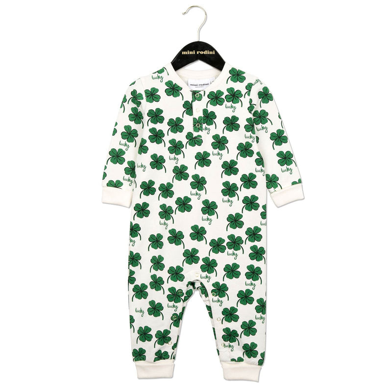Baby White Cotton Babygrow With Clover Print - CÉMAROSE | Children's Fashion Store - 1