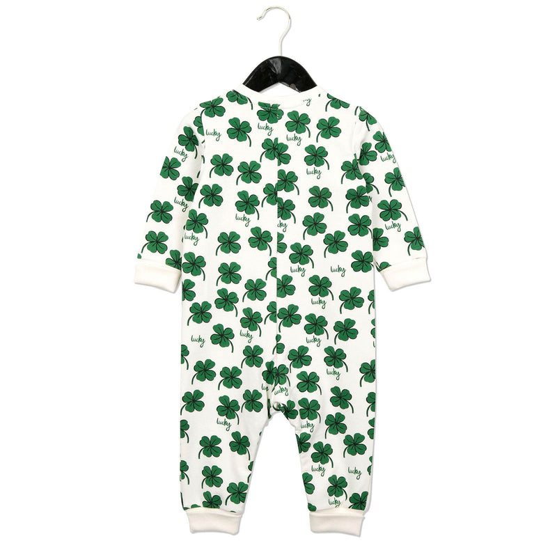 Baby White Cotton Babygrow With Clover Print - CÉMAROSE | Children's Fashion Store - 2