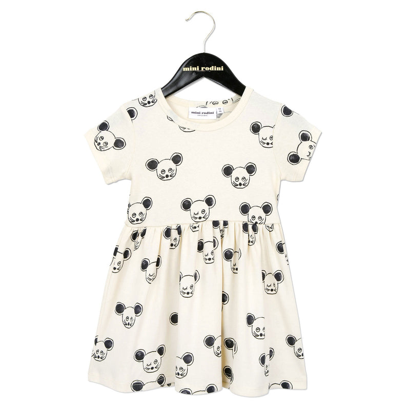 Girls White Cotton Dress With Black Mouse Print - CÉMAROSE | Children's Fashion Store - 1