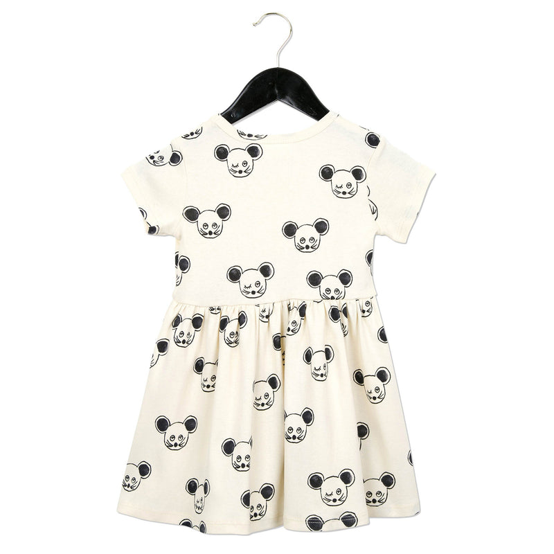 Girls White Cotton Dress With Black Mouse Print - CÉMAROSE | Children's Fashion Store - 2