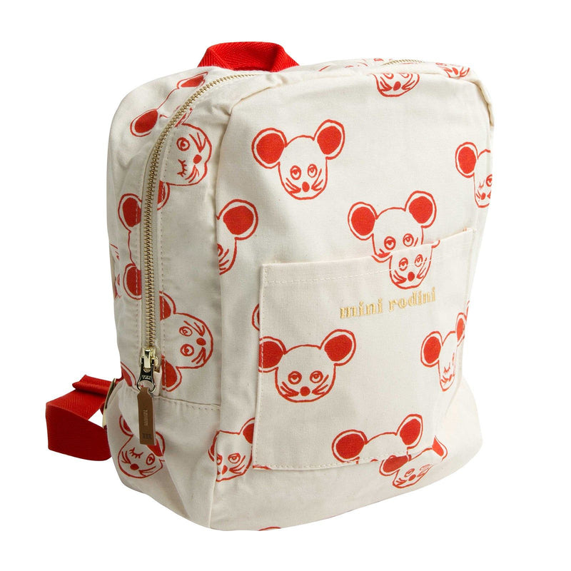 Boys&Girls White Cotton Backpack With Red Mouse Print - CÉMAROSE | Children's Fashion Store - 1