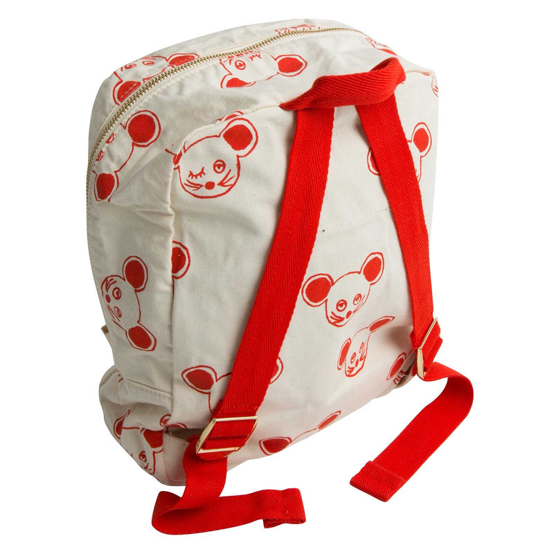Boys&Girls White Cotton Backpack With Red Mouse Print - CÉMAROSE | Children's Fashion Store - 2