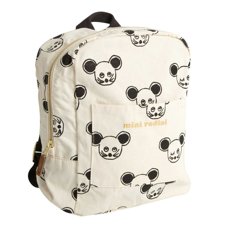 Boys&Girls White Cotton Backpack With Black Mouse Print - CÉMAROSE | Children's Fashion Store - 1