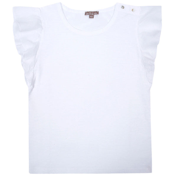 Girls White Cotton Top With Ruffled