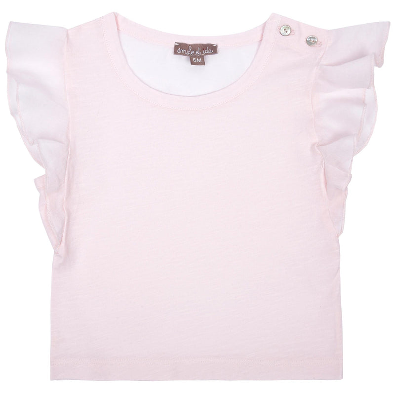 Girls Light Pink Cotton Top With Ruffled