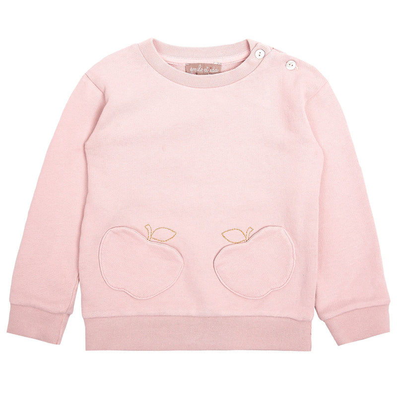 Girls Pink Cotton Sweater With Pocket