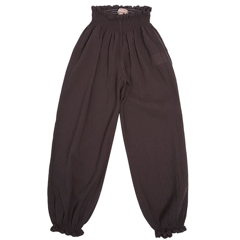 Girls Brown Cotton Waist Trousers With Frilly Cuffs