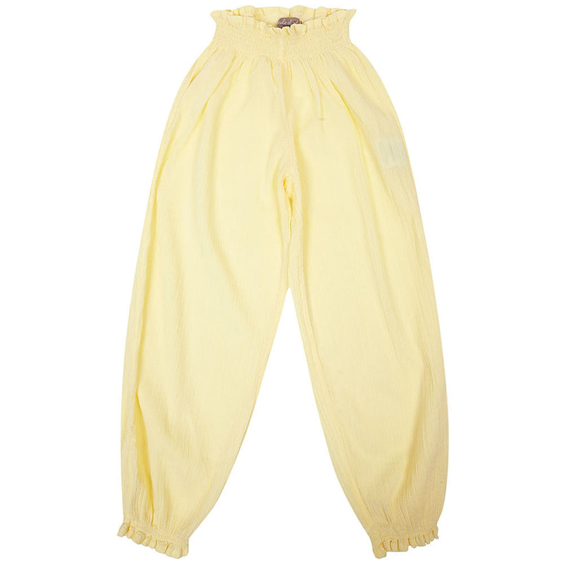 Girls Yellow Cotton Waist Trousers With Frilly Cuffs