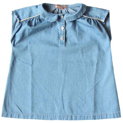 Girls Blue Denim Cotton Top