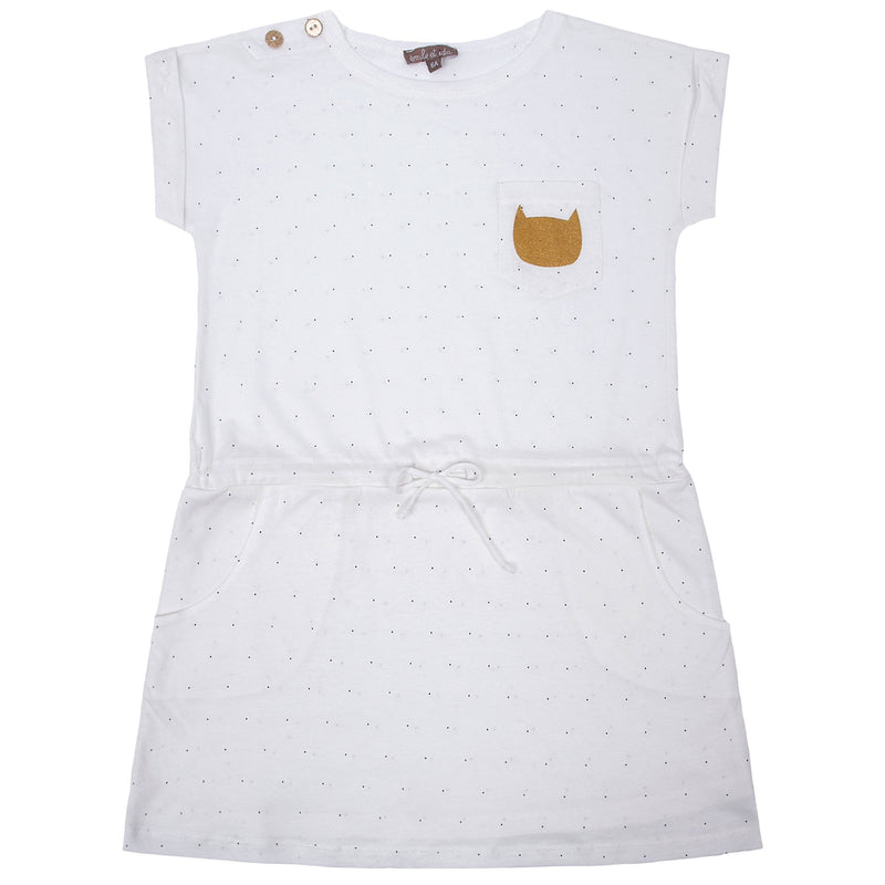 Girls White Cotton Dress With Cat