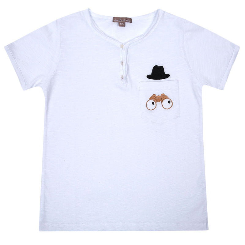 Boys White Cotton T-shirt With Telescope