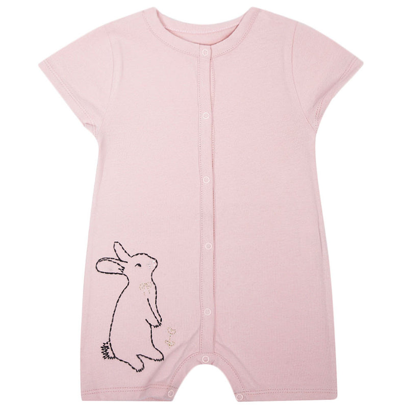 Baby Girls Pink Cotton Romper With Rabbit