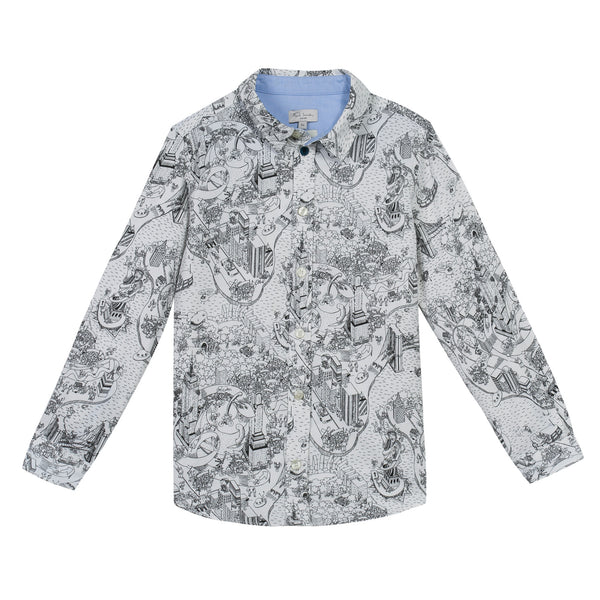 Boys Cream Allover Fancy Printed Cotton Shirt - CÉMAROSE | Children's Fashion Store
