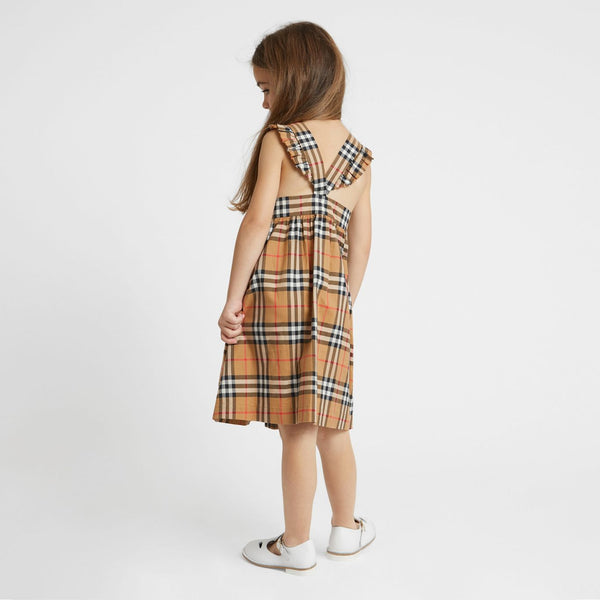 Girls Antique Yellow Check Cotton Dress