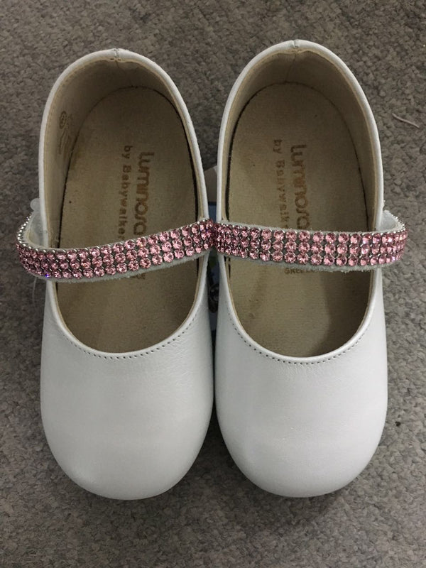 Baby Girls White Leather Shoes With Pink Diamond Trims - CÉMAROSE | Children's Fashion Store