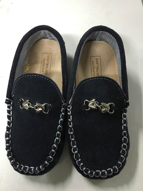 Boys&Girls Navy Blue Metallic Buckle Emellished Suede Leather Loafers - CÉMAROSE | Children's Fashion Store