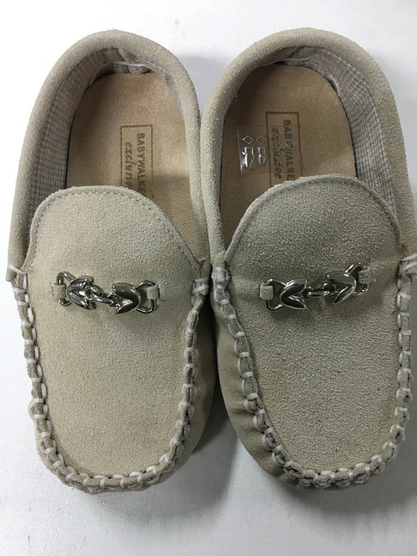 Boys Beige Metallic Buckle Emellished Suede Leather Loafers - CÉMAROSE | Children's Fashion Store