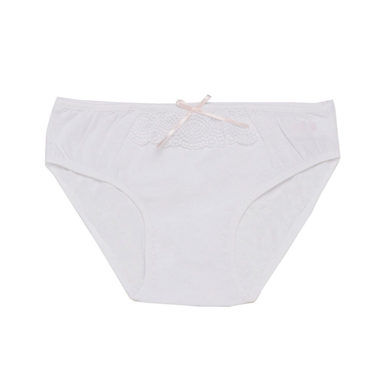 Girls Ivory Jersey Knicker With Pink Bow Trims - CÉMAROSE | Children's Fashion Store