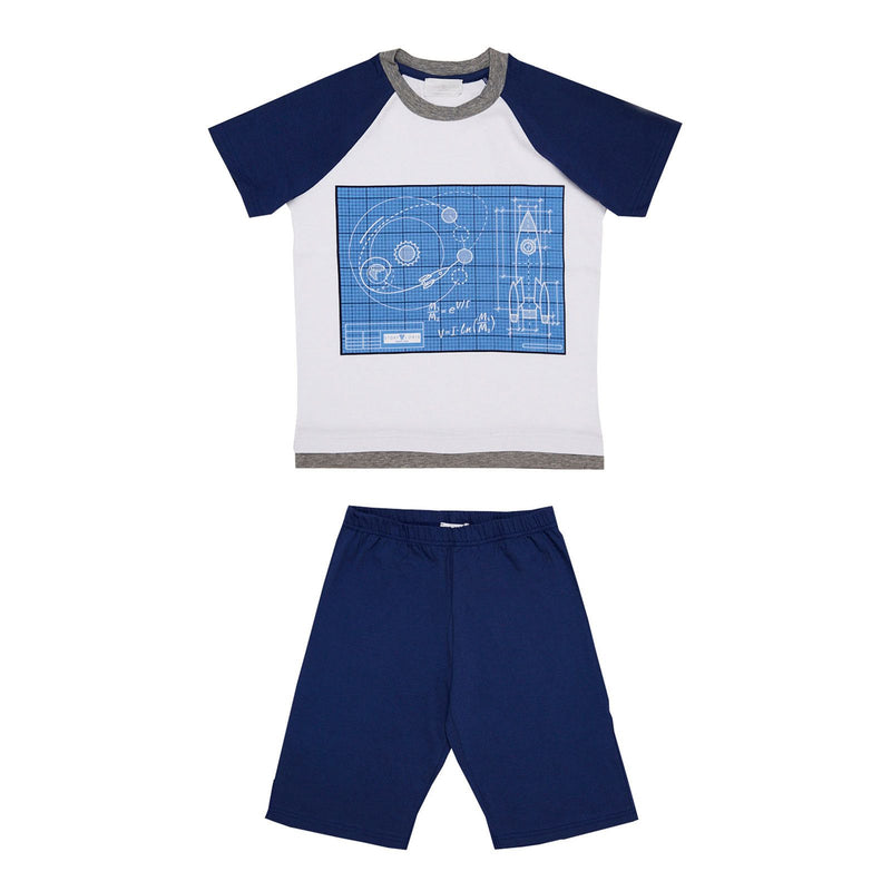 Boys White Top&Navy Blue Bottom  Pyjama - CÉMAROSE | Children's Fashion Store