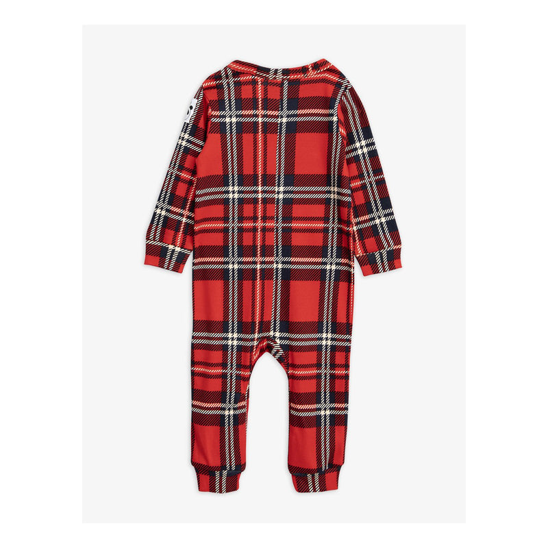 Baby Red Organic Cotton Check Jumpsuit