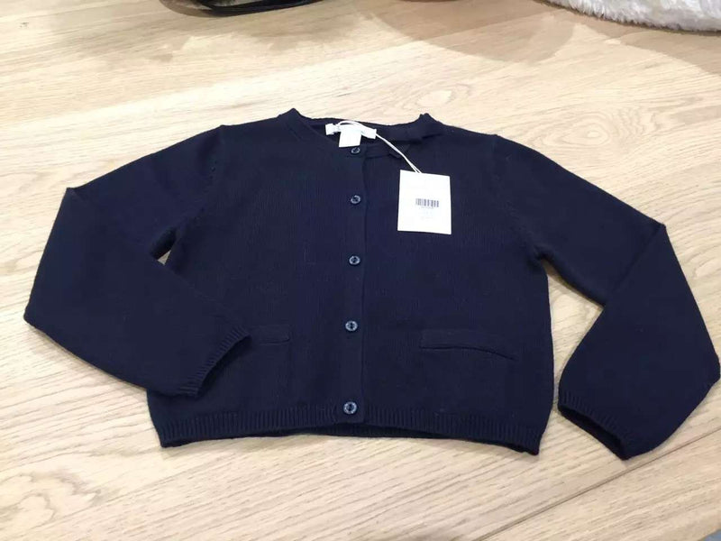 Girls Navy Blue Knitted Cardigan With Bow Trims - CÉMAROSE | Children's Fashion Store