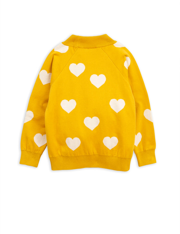 Girls Yellow Heart Cotton Sweater