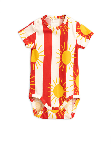 Baby Girls Red Sun Striped Cotton Babysuits
