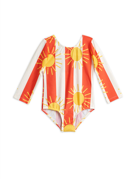 Girls Red Sun Striped Swimsuit