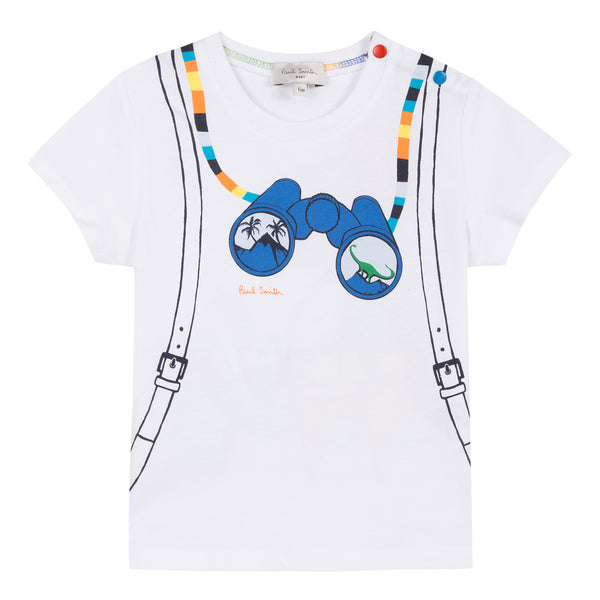 Baby Boys White Printed Cotton T-shirt