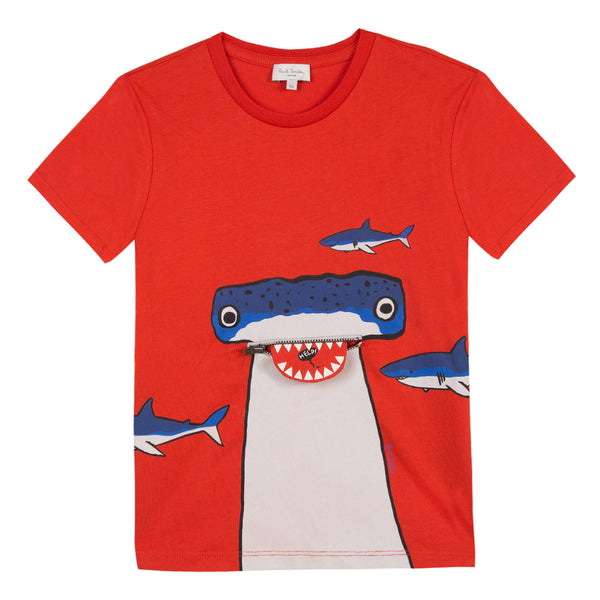 Baby Boys Red Printed Cotton T-shirt
