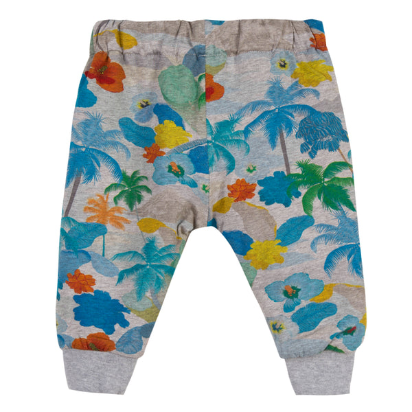 Baby Boys Grey Printed Cotton Trousers