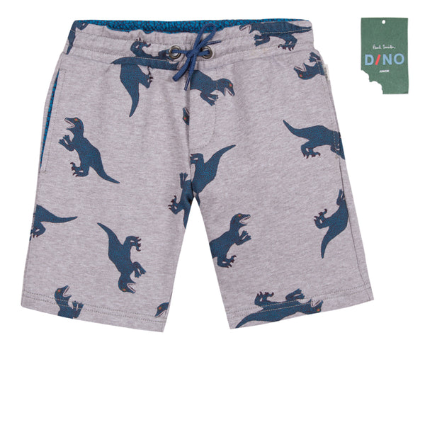 Boys Grey Printed Cotton Shorts
